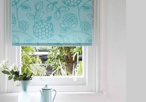 Roller Blinds in Huckleberry teal