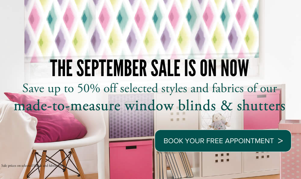 Blinds Aberdeenshire and Moray Summer Sale Book appointment with Sunrite Blinds banner