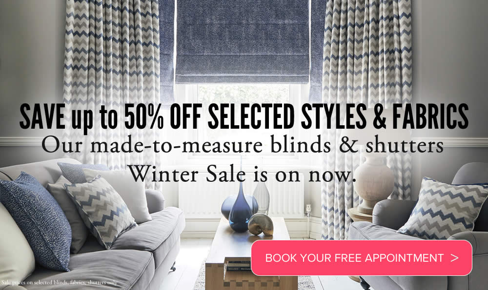 Blinds Aberdeenshire and Moray Made to measure roman blinds and curtains in winter sale promotion